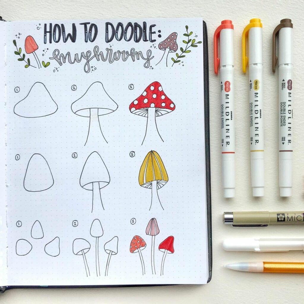 step-by-step toadstool doodles