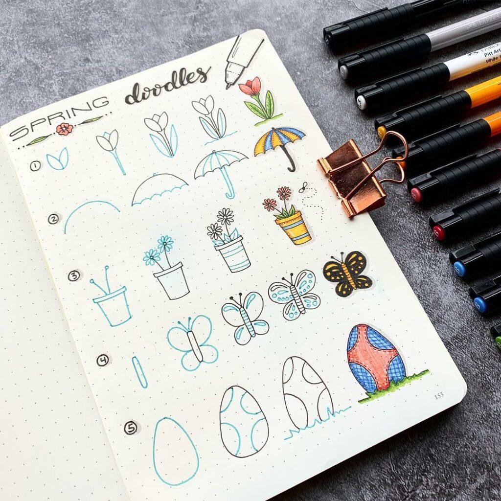 step-by-step spring doodles