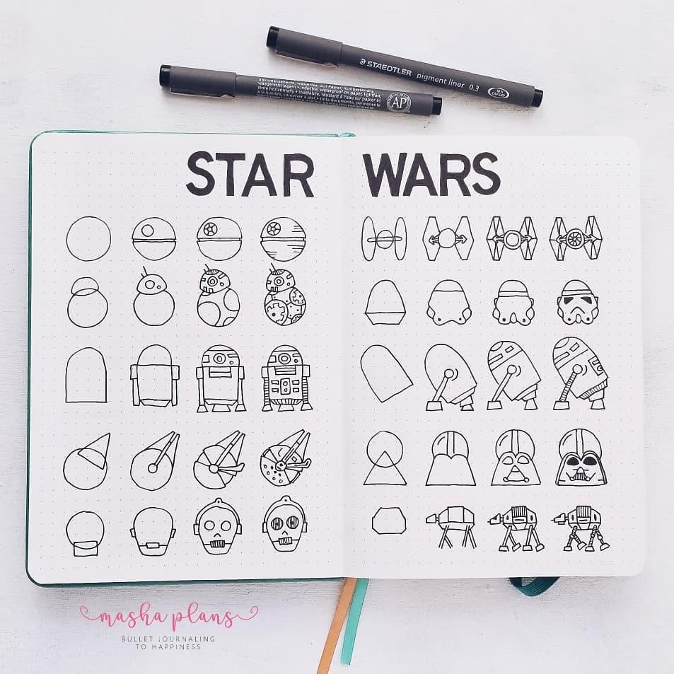 step-by-step Star Wars doodles