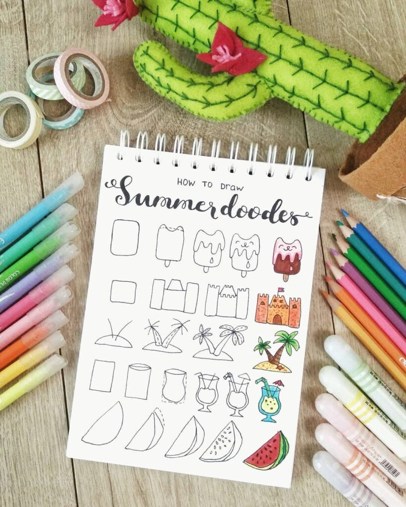 how to draw cute summer doodles