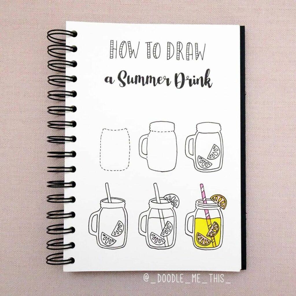 step-by-step summer drink doodles