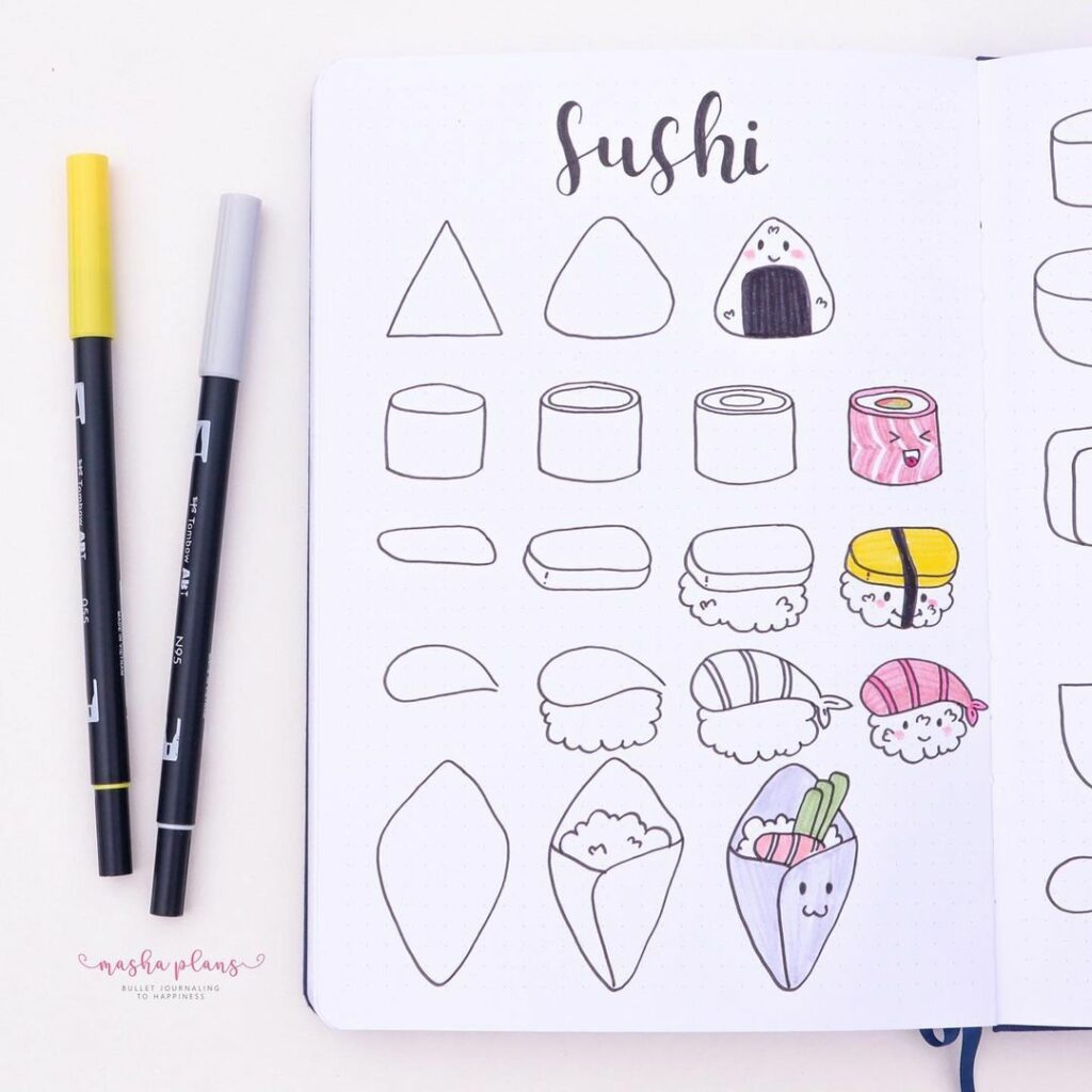step-by-step sushi doodles