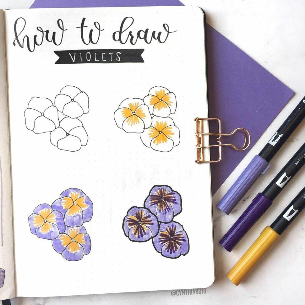 step-by-step violet doodles