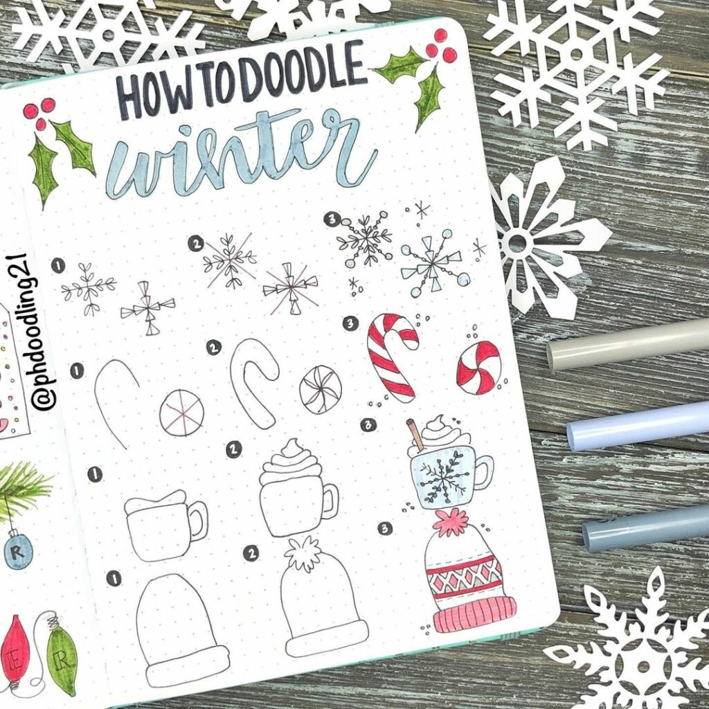 step-by-step winter doodles