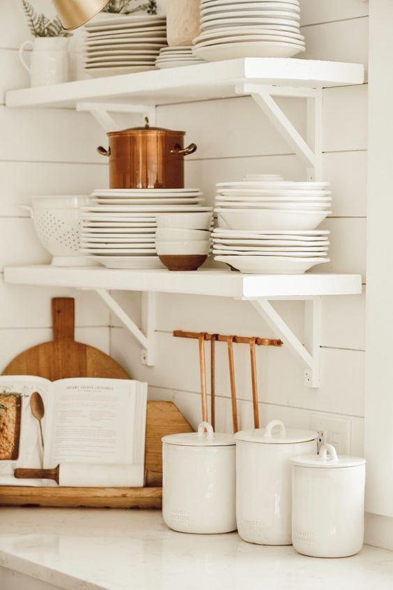 white bracket shelves
