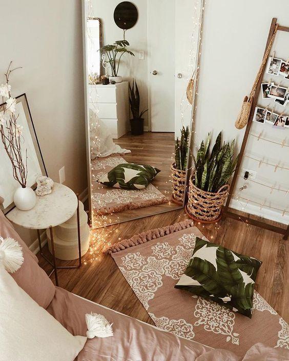 bedroom yoga space