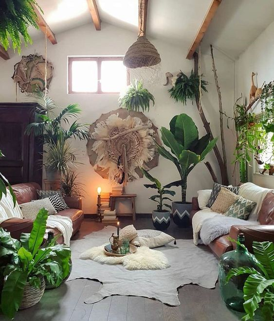 meditation room with potted greenery